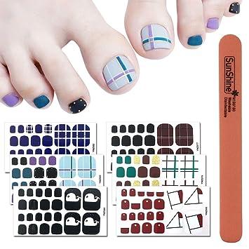 Amazon.com: WOKOTO 6 Sheets Self-Adhesive Toe Nail Decals Stickers Self Adhesive Grid Pattern Solid Nail Polish Stickers Wraps Kit With 1Pc Nail Buffer ...