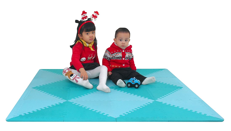 meiqicool - Alfombra puzzle infantil para bebés de Foam (EVA), suelo extra acolchado para niños,Alfombras de Juegos Infantiles con Valla-Alfombra triangular Gris y blanco 050HUI Fujian Jiasheng Sports Co. LTD