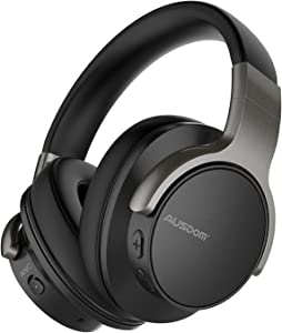 Active Noise Cancelling Headphones, Ausdom ANC8 Over-Ear Wireless Headphones Bluetooth Wired Stereo Headphones with Microphone for Computer,Workouts at Home Listening at The Gym