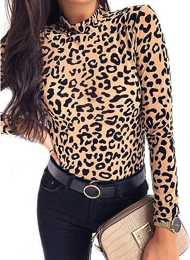 Camiseta de Mujer con Estampado de Leopardo y Cuello de Tortuga de Primavera Otoño Camisas de Manga Larga para Fiesta Casual Ropa de Mujer Blusas y Tops.: Amazon.es: Ropa y accesorios
