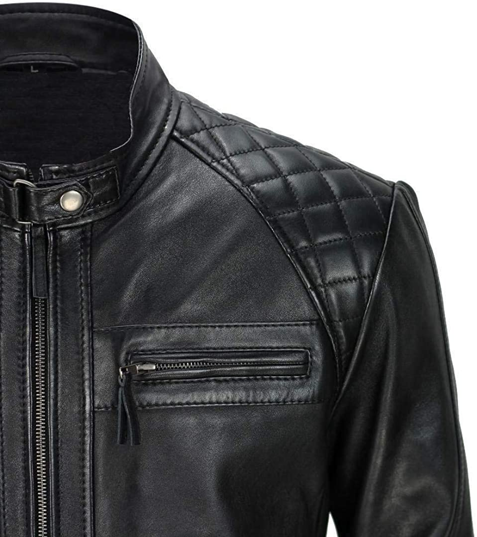 Men/'s Biker Style Cafe Racer Quilted Waxed Motorcycle Black Sheepskin Leather Jacket