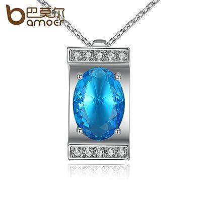Amazon delatcha jewelry silver color oval cutting big blue delatcha jewelry silver color oval cutting big blue stone pendants necklaces for women wedding jewelry aloadofball Choice Image