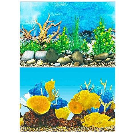 Amakunft Adhesivo de Fondo para Acuario, Doble Cara, Papel Pintado, pecera del océano