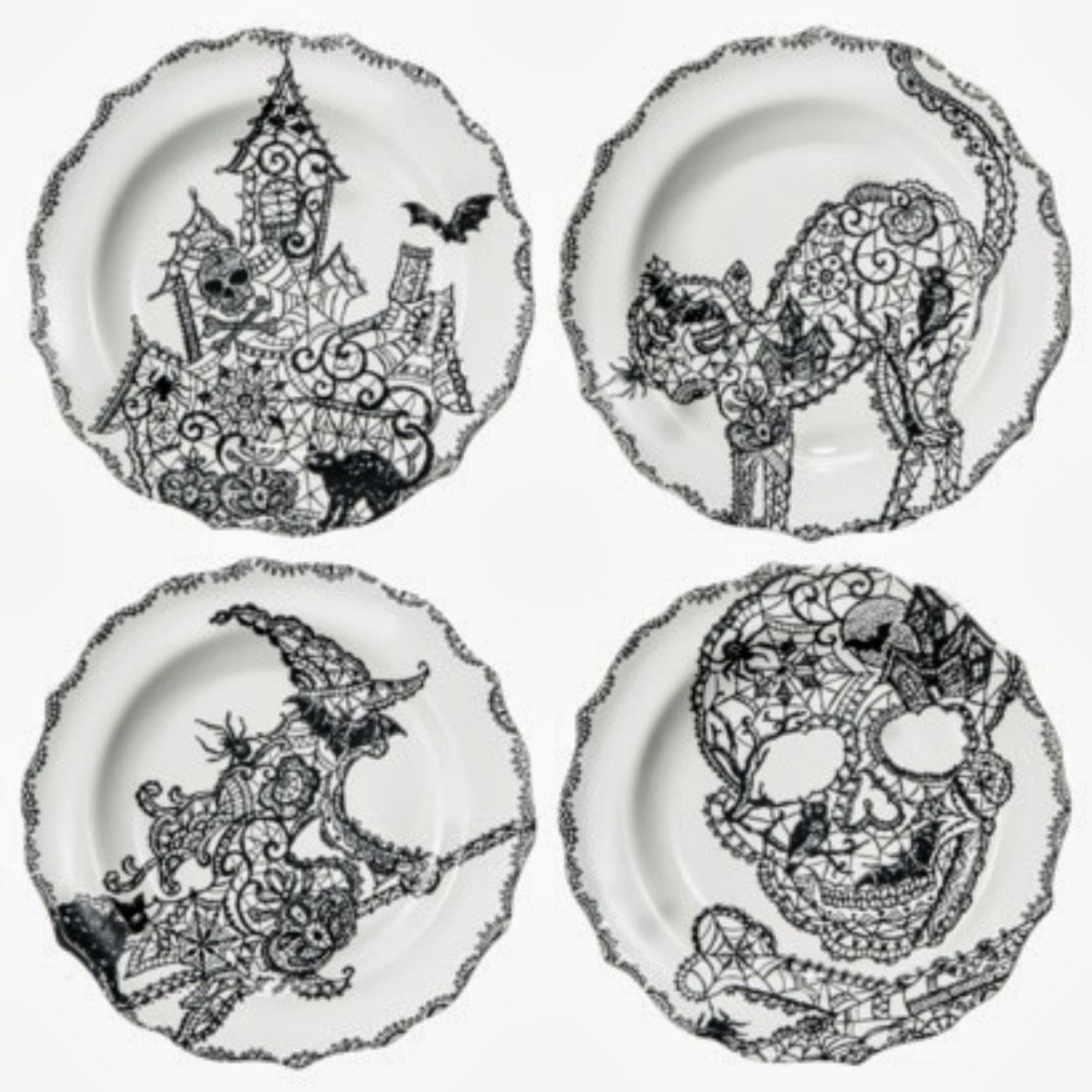 Amazon.com | 222 Fifth Halloween  Wiccan Lace  Snack Party Appetizer Plates 6  Black u0026 White Porcelain Set of 4 Designs Cat Haunted House Skull ...  sc 1 st  Amazon.com & Amazon.com | 222 Fifth Halloween