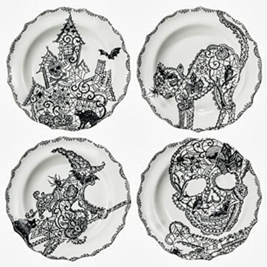 amazoncom 222 fifth halloween wiccan lace snack party appetizer plates 6 black white porcelain set of 4 designs cat haunted house skull