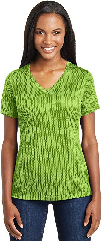 Sport Tek Women S Camohex V Neck Tee At Amazon Women S Clothing Store A gusseted crotch panel improves the mobility of the digi camo print shorts with an elastic drawstring waistband for a comfy fit and reflective back gr. sport tek women s camohex v neck tee