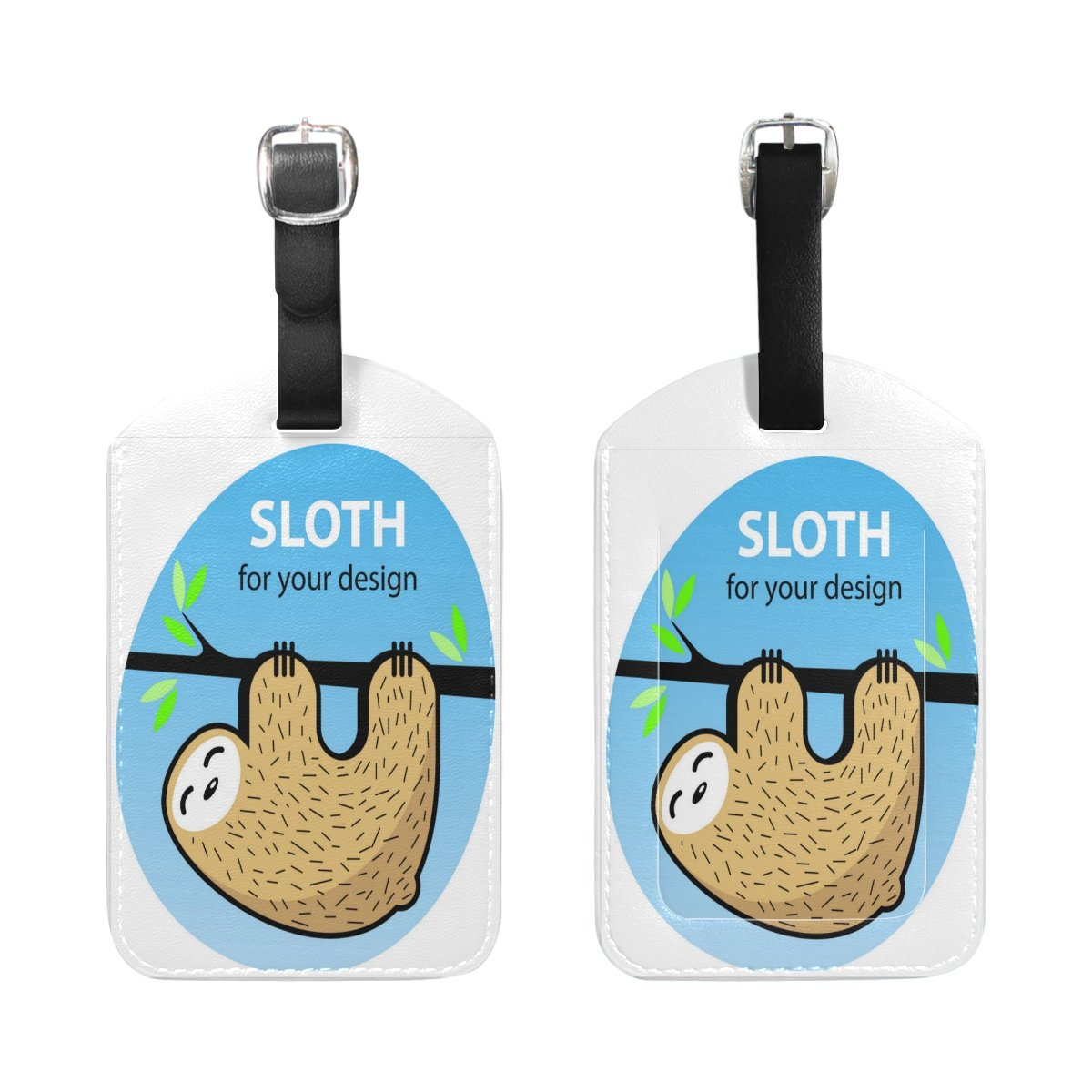 1Pcs Saobao Travel Luggage Tag Cute Cartoon Sloth PU Leather Baggage Suitcase Travel ID Bag Tag