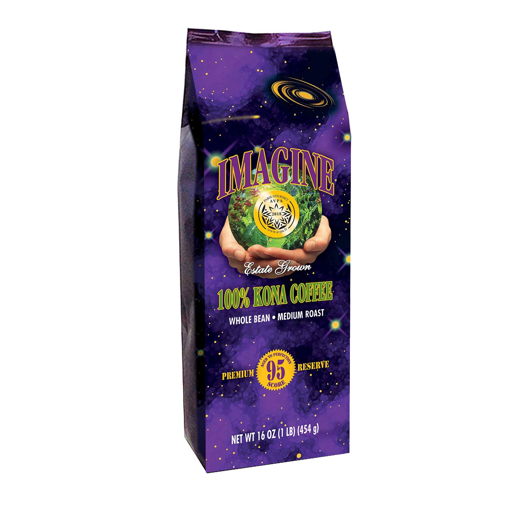Kona Coffee Beans by Imagine - 100% Kona Hawaii - Medium Dark Roast Whole Bean - 16 oz Bag