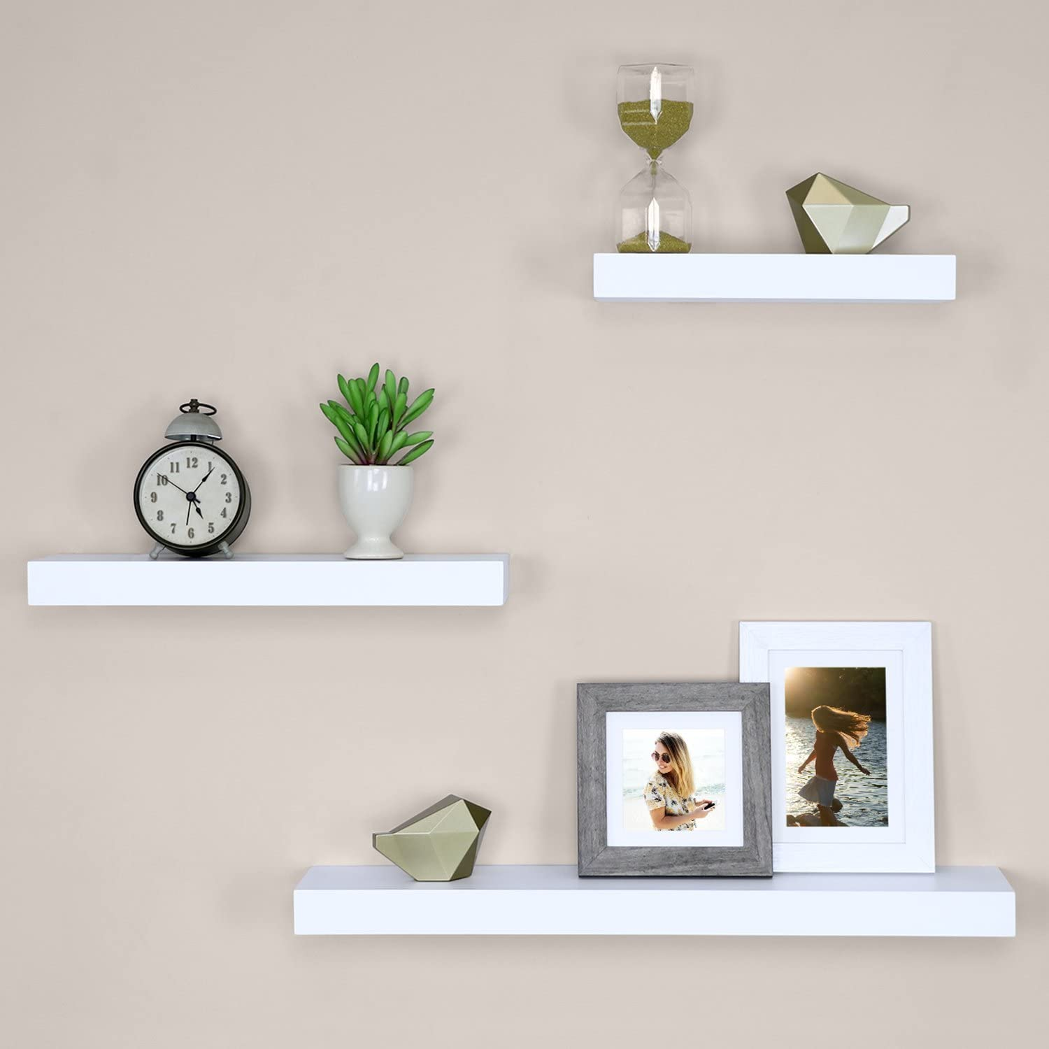 Black Faux Wood Floating Shelves Wall Display Up To 5lbs Weight Limit 2