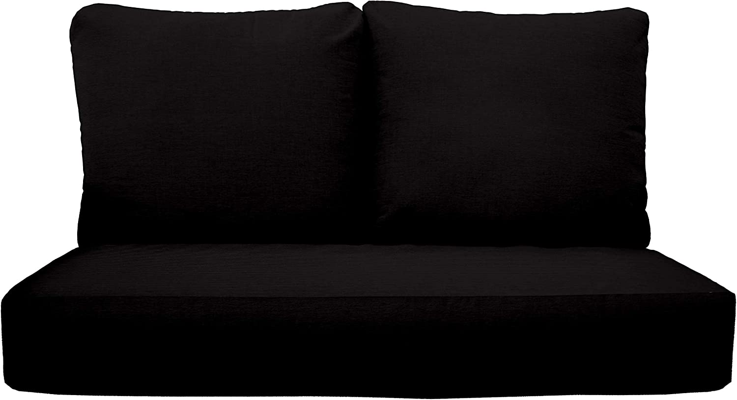 """RSH Décor Indoor Outdoor Deep Seating Loveseat Cushion Set, 1- 46"""" x 26"""" x 5"""" Seat and 2- 25"""" x 21"""" Backs, Choose Color (Black)"""
