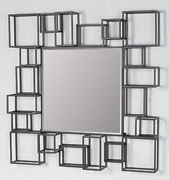 large modern geometric square decorative art dcor metal frame wall mirror