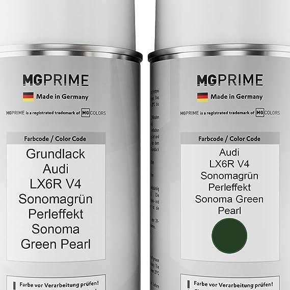 Mg Prime Autolack Sprühdosen Set Für Audi Lx6r V4 Sonomagrün Perleffekt Sonoma Green Pearl Grundlack Basislack Klarlack Spraydose 400ml Auto