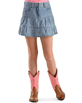 Amazon.com: Ely Cattleman Girls' Tiered Denim Skirt - 525259 75 ...