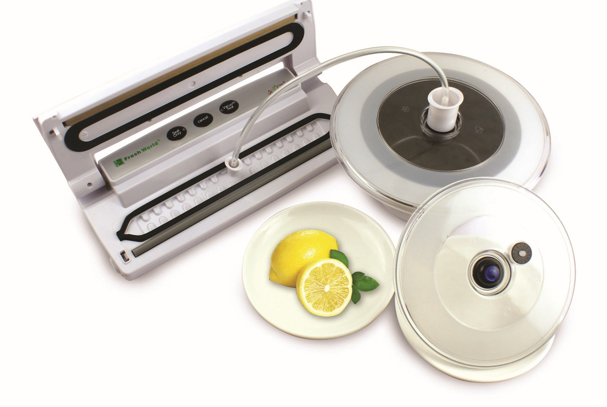 Fresh World Vacuum Sealer for Long-Term Food Preservation – Saves Time and Money; Works With Dry and Wet Food - Simple Easy to use 1 Button Seal by Fresh World
