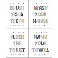 Kids Bathroom Decor, Kids Bathroom Set, Colorful Washroom Rules Decorations, Kids Wall Art, Kids Bathroom Accessories…