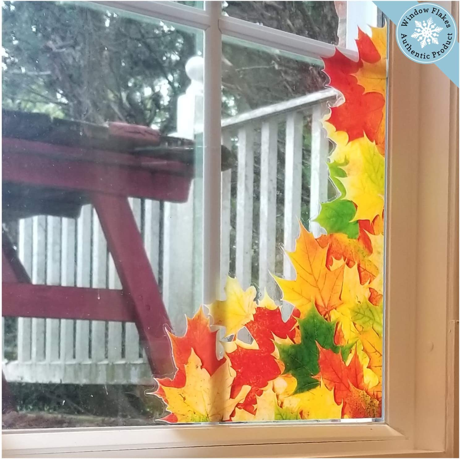 Fall Window Clings Leaves   12 Large Window Corner Fall Leaves Decoration    Double Sided Leaf Autumn Window Clings   Fall Decor   Reusable   Fall Door  ...