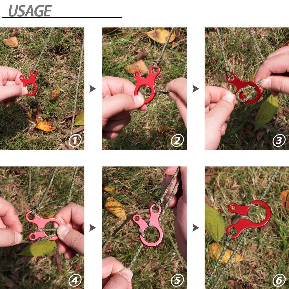 MAGARROW Guyline Cord Adjusters Tent Aluminium Alloy Rope Adjuster Hiking 3 Holes Type Adjusters