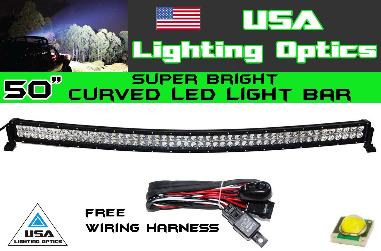 50'' 288w Curved LED Light bar by USA Light Optics TM spot flood combo beam Lumens 20160LM, Great for Offroad Trucks, 4x4 radius fog, Jeeps, Truck, UTV SUV 4WD