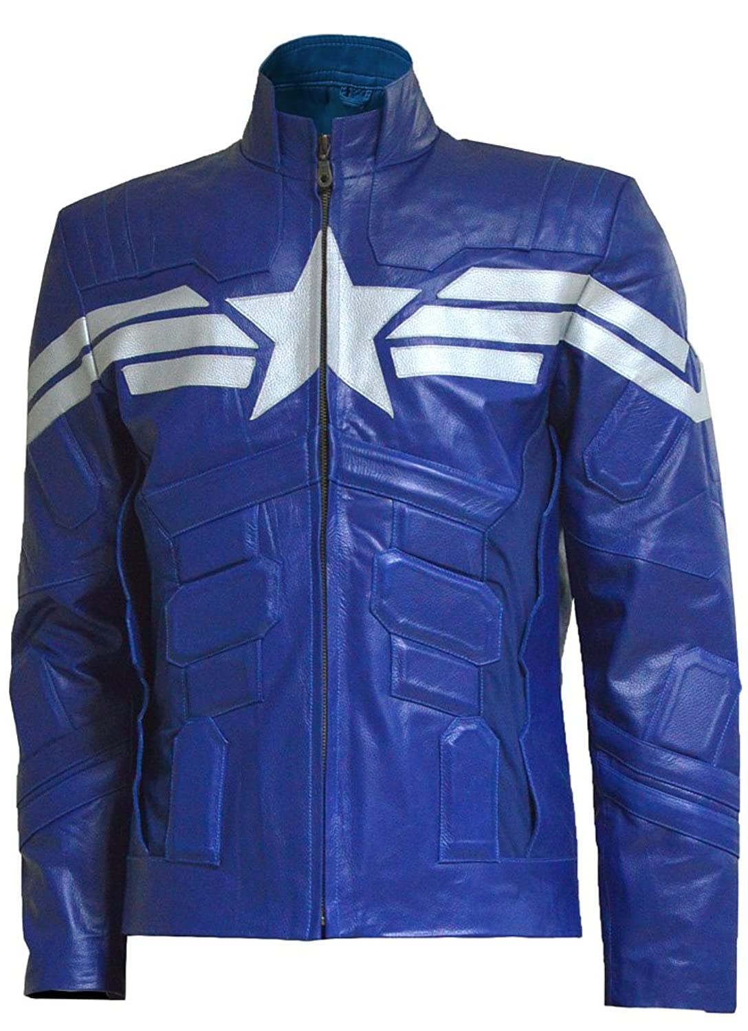 Captain America Winter Soldier Blue Genuine Leather Jacket Replica - DeluxeAdultCostumes.com