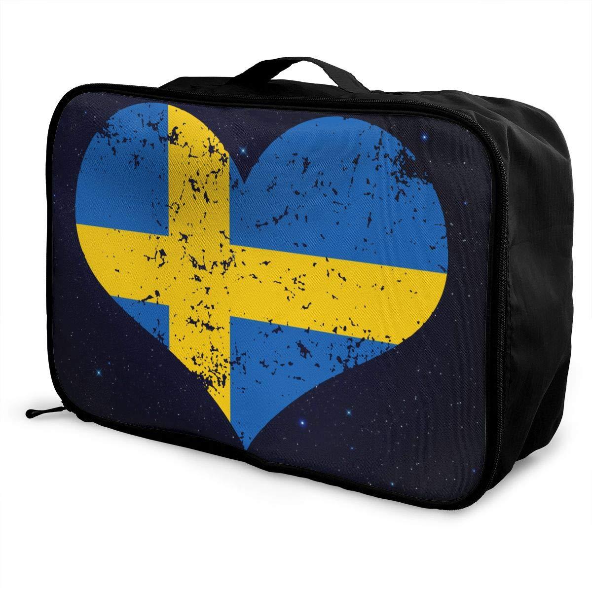 Swedish Heart Flag Luggage Bag Capacity Portable Large Travel Duffel Bag Makeup Storage