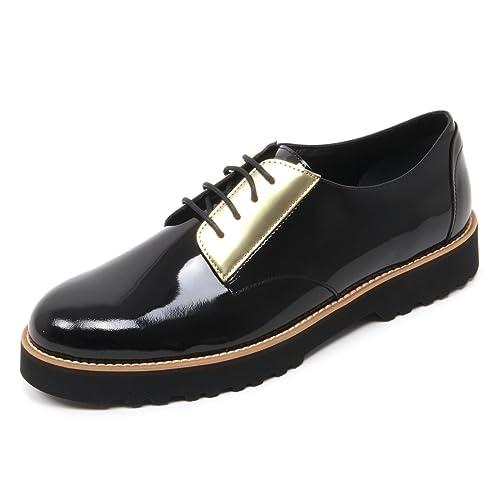 B7418 scarpa classica donna HOGAN H259 ROUTE DERBY scarpe nero/oro shoe woman