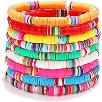 Surfer Heishi Bracelets for Women Stackable Rainbow Vinyl Disc Beaded Stretch Bracelets Elastic Layering Friendship…