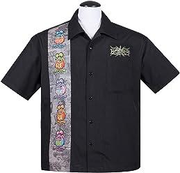 345aaf24 Rat Fink Five Finks Panel Button Up 50's Bowling Shirt Hemd Rockabilly