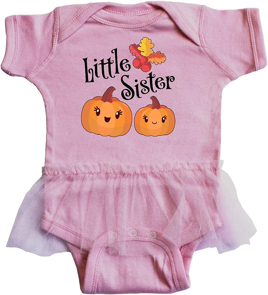 inktastic Little Sister Pumpkins with Fall Leaves Infant Tutu Bodysuit
