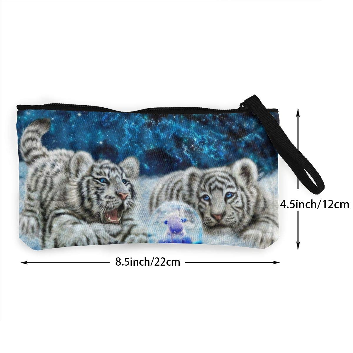 Canvas Cash Coin Purse,Tow Snow Leopard Print Make Up Bag Zipper Small Purse Wallets