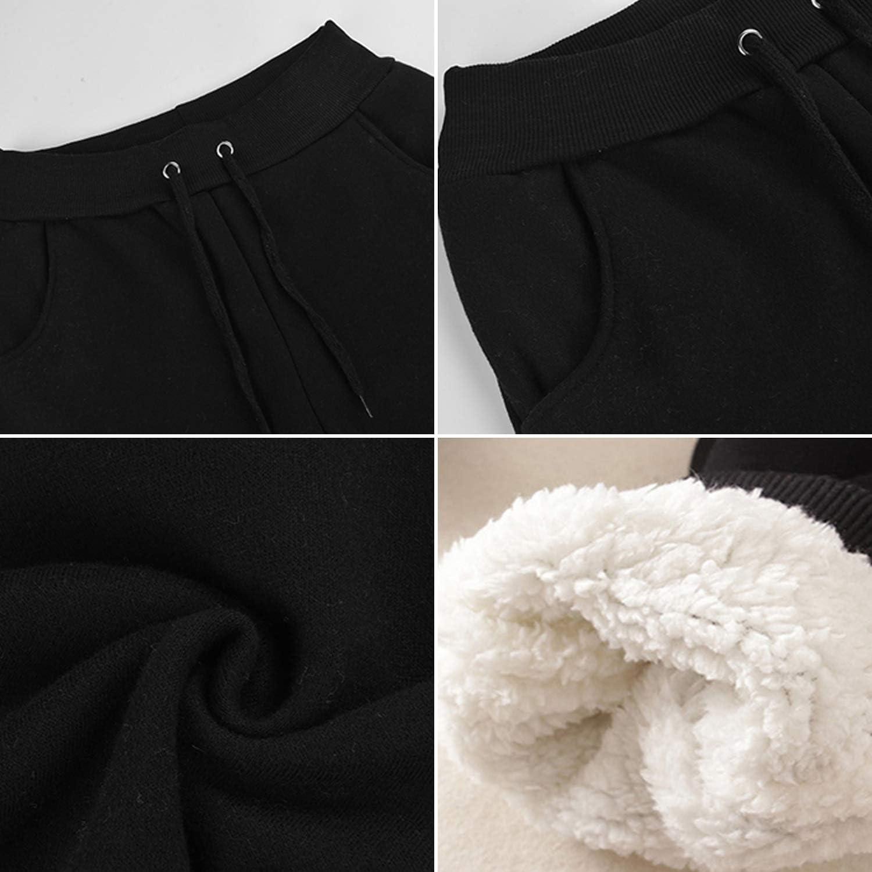 Pantalones de chándal, con forro de forro polar, para mujer, con cordones y bolsillos