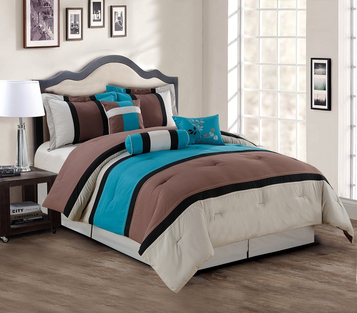 7 Piece Teal Blue Grey Black Stripe Comforter Set Queen size Bedding