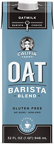 Califia Farms Unsweetened Oatmilk Barista Blend, 32 Oz (Pack of 6) | Whole Rolled Oats | Dairy Free | Coffee Creamer | Glute