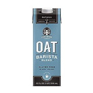 Califia Farms - Oat Milk, Unsweetened Barista Blend, 32 Oz (Pack of 6) | Shelf Stable | Non Dairy Milk | Creamer | Vegan | Plant Based | Gluten-Free | Non-GMO