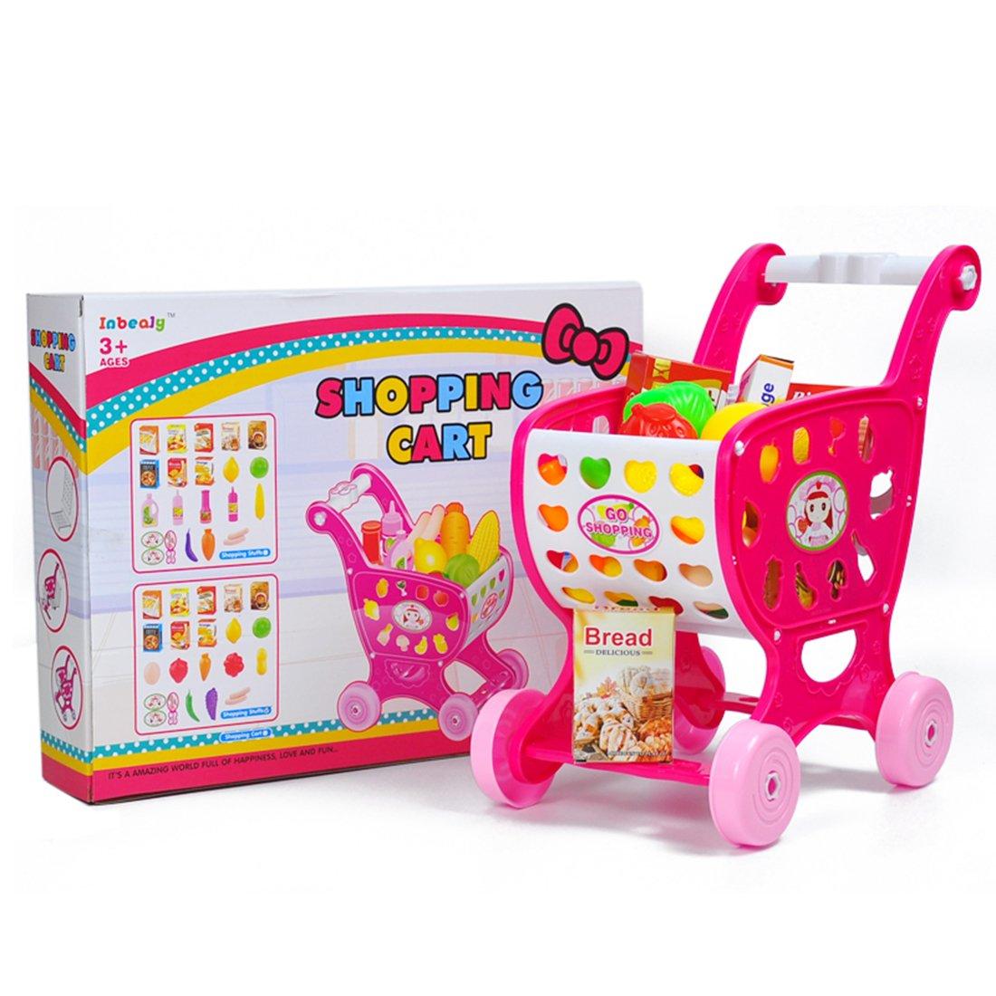 Shopping Cart for Kids PINCHUANGHUI 19Pcs Children Shopping Cart Toys Set Pretend Play Baby Kids Home Educational Toy - Pink   B075NY1BRB