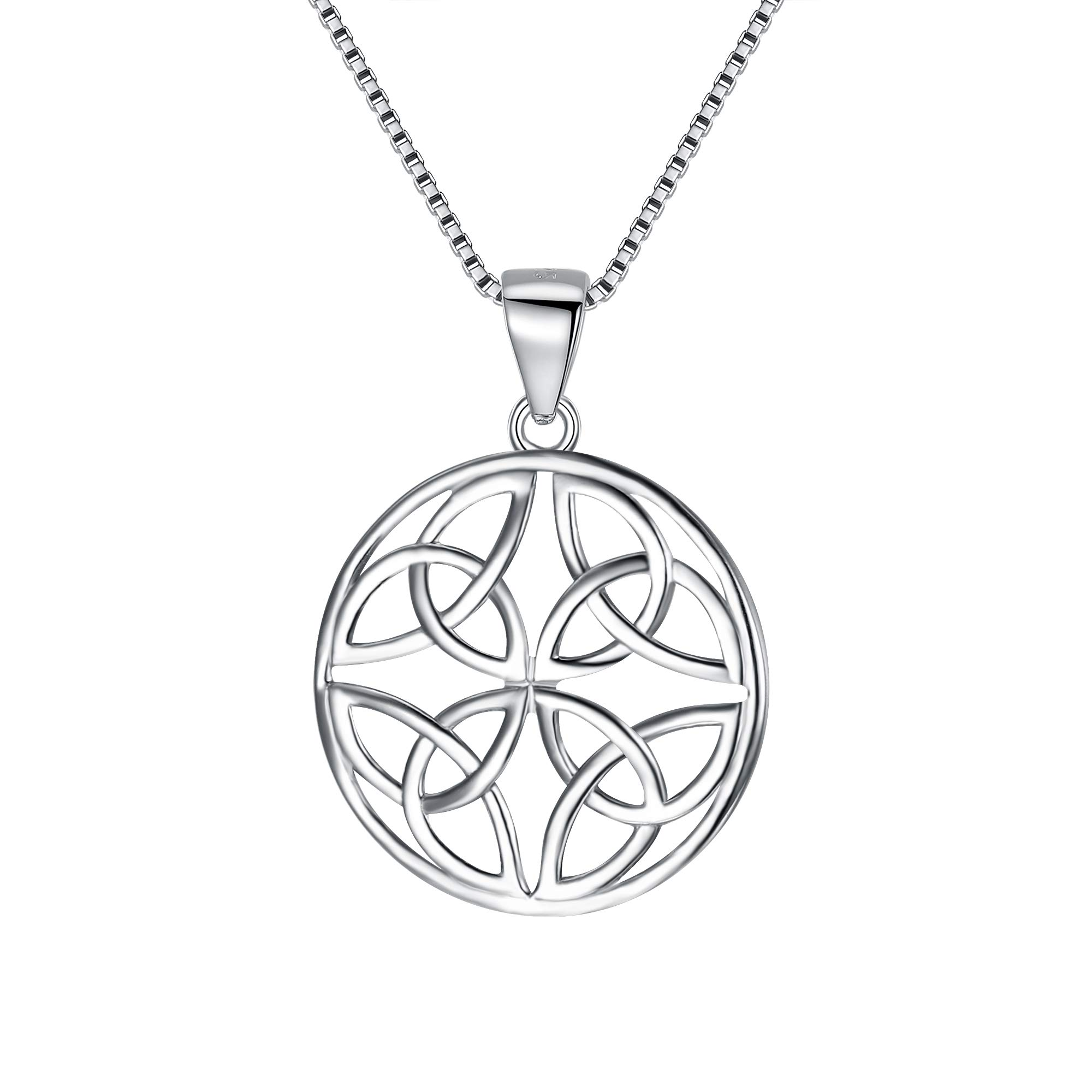 FANZE 925 Sterling Silver Celtic Knot Round Drop Wire Necklace Triquetra Trinity Medallion Pendant Necklace