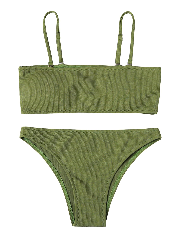 0 green SweatyRocks Women's Sexy Bikini Set Removable Strap Wrap Padding Ribbed Swimwear Set