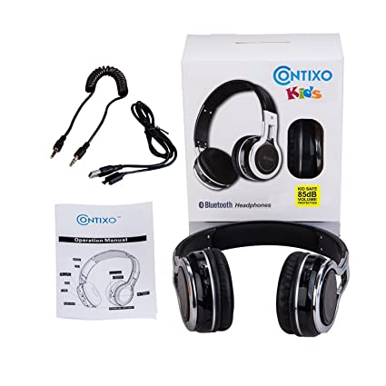 Amazon.com: Contixo KB2600 Kid Safe 85db Foldable Wireless Bluetooth Headphone Built-in Microphone, Micro SD Card Music Player, FM Stereo Radio (Black) ...