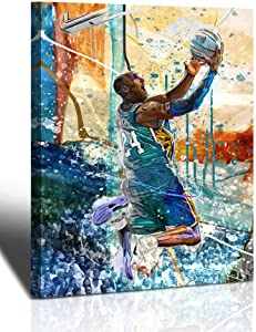 Kobe Bryant Wall Art Basketball Player Canvas Wall Art Painting Sports Posters Artwork Home Decor for Basketball Fan Memorabilia Gifts Living Room Bedroom Boy Girl Gifts Decoration Wall Art