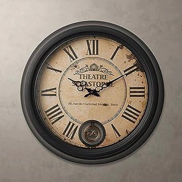 Yyf Horloge Murale Vintage Romain En Fer Forgé Grande Horloge Murale