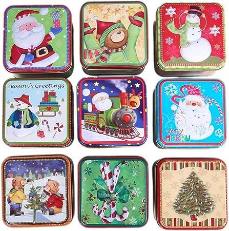 Handfly Caja Caja de hojalata de Navidad Papá Noel muñeco de Nieve Reno Caja de Dulces Hojalata de Metal Latas vacías para favores de Fiesta y Regalos -1pc Color Aleatorio: Amazon.es: Hogar