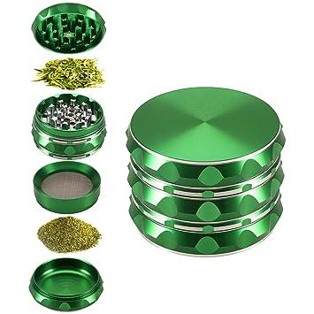 50mm Rainbow Stainless Steel Spice Herb Grinder Cylinder 4 Piece Tobacco Mill