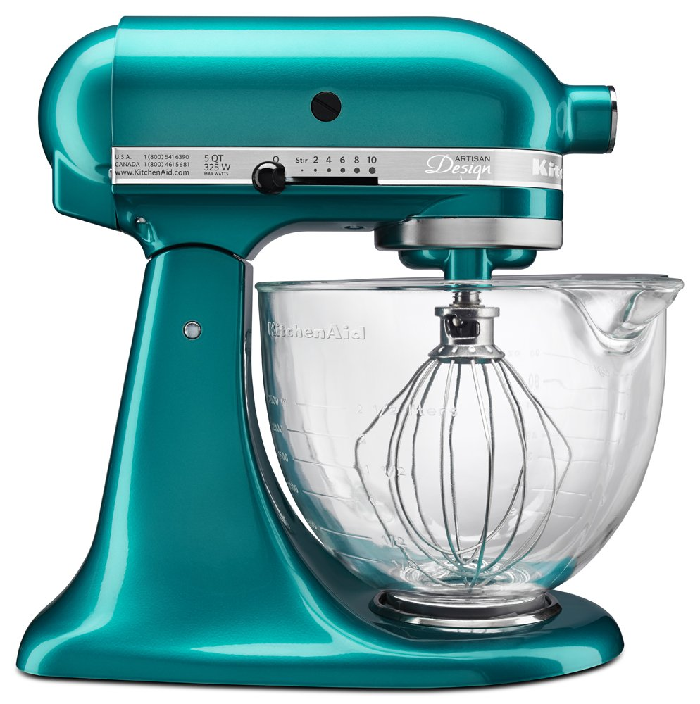 Amazon.com: KitchenAid KSM155GBSA 5 Qt. Artisan Design Series With Glass  Bowl   Sea Glass: Kitchen U0026 Dining