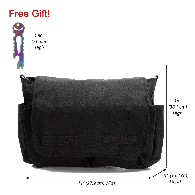 Stonewash Bag with FREE Black Punisher Tool Canvas Messenger Shoulder Bag