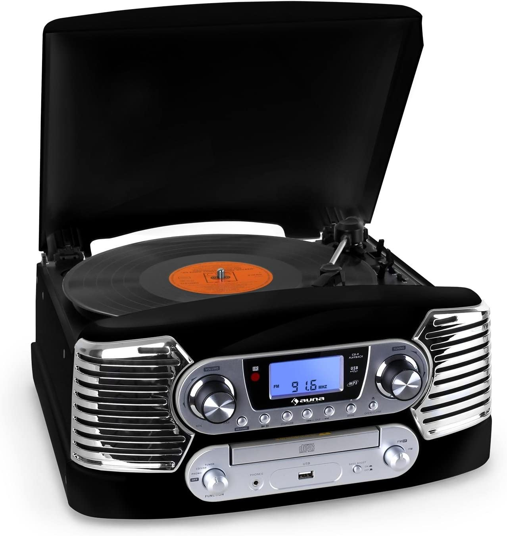 Auna RTT-885BK Cadena estéreo Tocadiscos CD USB MP3 (Reproductor ...
