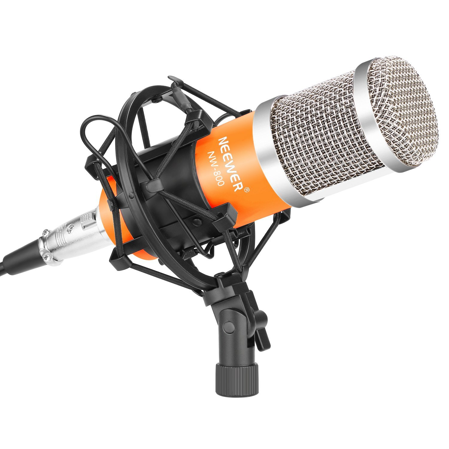 Neewer NW-800 Professional Studio Broadcasting & Recording Microphone Set: (1)NW-800 Condenser Microphone + (1)Microphone Shock Mount + (1)Ball-type Anti-wind Foam Cap + (1)3.5mm to XLR Cable(Yellow) by Neewer