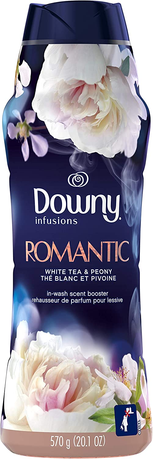 Downy Infusions in-Wash Scent Booster Beads, Romantic, White Tea & Peony, 20.1 Oz