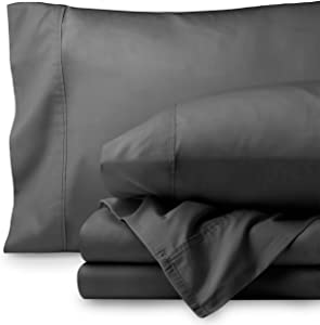 Bare Home Egyptian Cotton 300 Thread Count Sateen King Sheet Set (King, Grey)