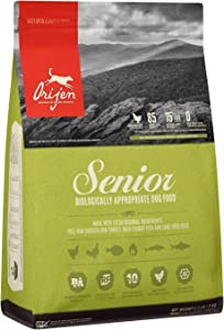 ORIJEN Senior Dry Dog Food, Grain Free, High Protein, Fresh & Raw Animal Ingredients, 4lb