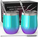 CHILLOUT LIFE Stainless Steel Stemless Wine Glass Tumbler 2 Pack Mermaid Sparkle 12 oz | Double Wall Vacuum Insulated Wine Tumbler with Lids and Straws Set of Two for Coffee, Wine, Cocktails
