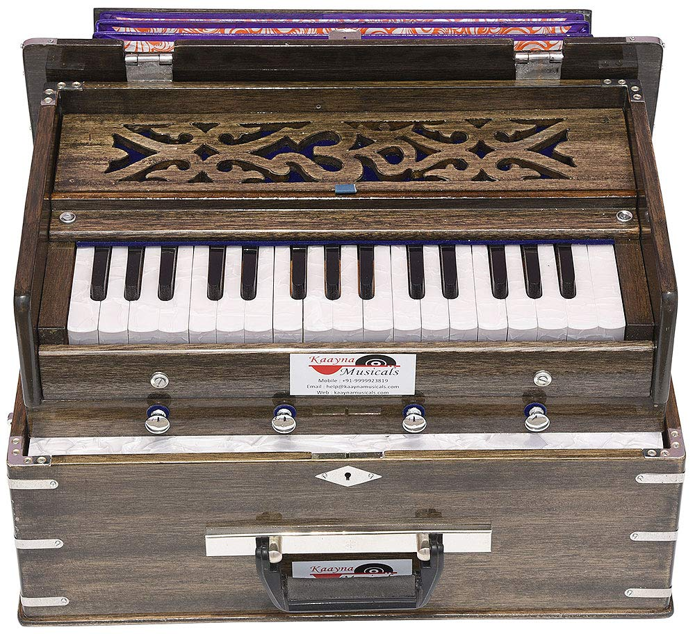 OM Safri Harmonium- 2¾ Octave By Kaayna Musicals-Portable, Traveler, Baja, 4 Stops (2 Drone), Two Set Reed- Bass/Male, Dark Color, Gig Bag, Tuning: 440Hz, Suitable for Yoga, Bhajan, Kirtan, Mantra, Dj by Kaayna Musicals